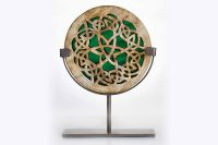 Celtic Knot Green Glass and Clay Sculpture